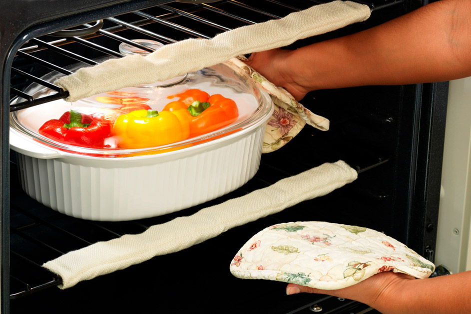 Oven Rack Guards Burn Protection with casserole dish in oven