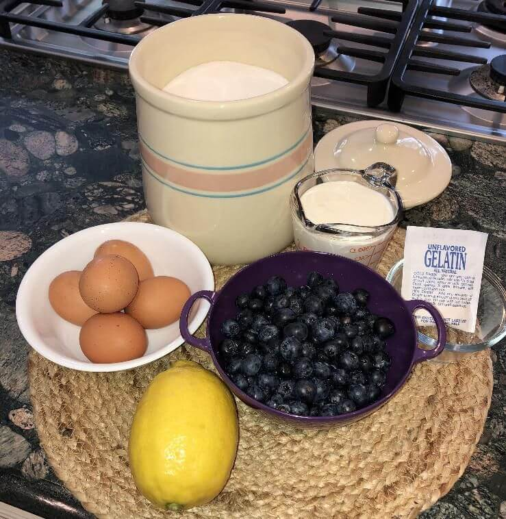 Ingredients for blueberry chiffon pie