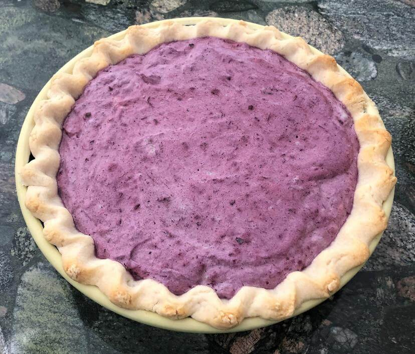 Blueberry chiffon ready for cooling